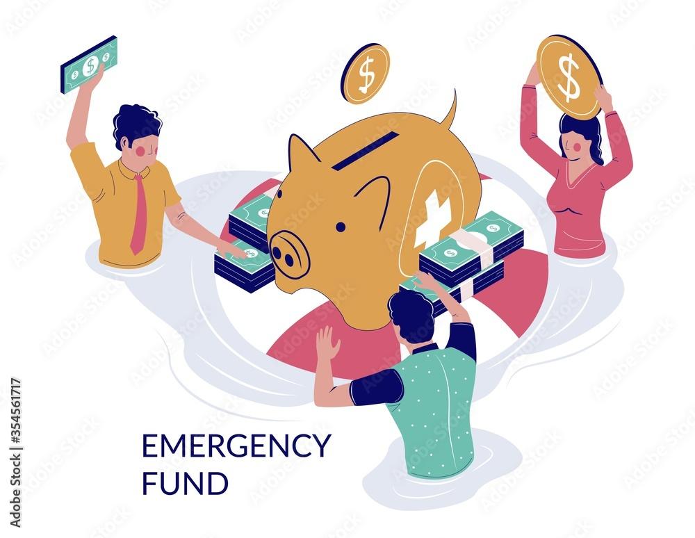 Fototapeta Emergency fund vector concept for web banner, website page