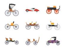 Vintage Transport Flat Icons Set