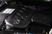 Close Up Detailed Shot Of Car Engine Of Luxury  Mercedes-Benz GLC The 2.0-liter Turbo Gasoline Engines
