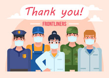 Thank You Frontline Workers Poster. People Or Occupations That Keep Working At Quarantine. Minimal Design Vector Illustration