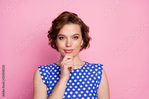 Obraz Close-up portrait of her she nice attractive lovely pretty cute content minded brown-haired girl lady creating new strategy touching chin isolated over pink pastel color background - fototapety do salonu