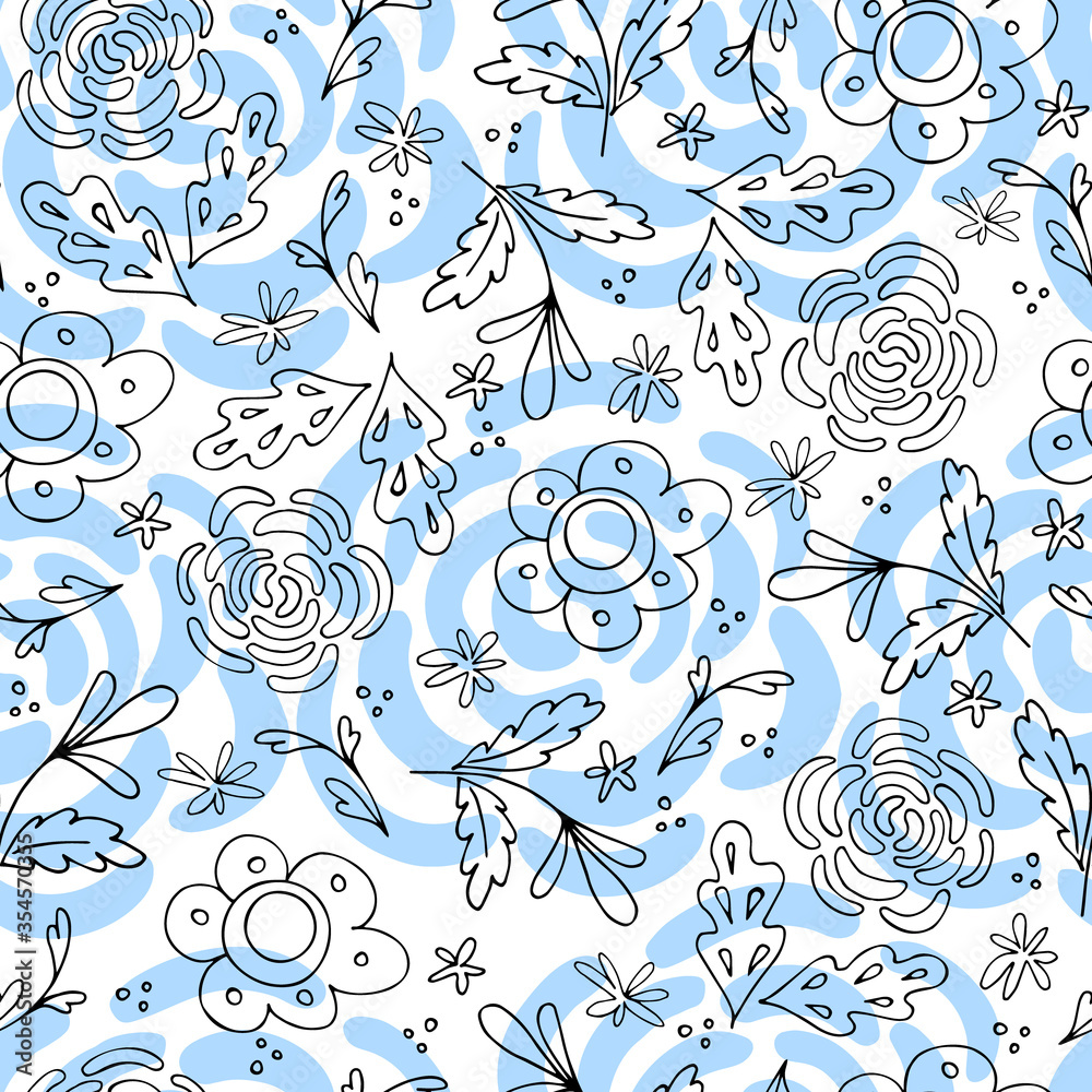 Seamless pattern of black outline flowers and leaves in the Scandinavian style. Floral background for wrapping paper and scrapbooking. Design for fabric. Stock vector illustration.