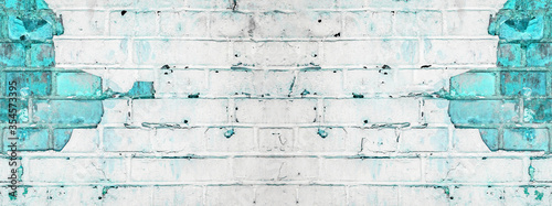 Plakaty turkusowe  white-turquoise-aquamarine-abstract-painted-light-damaged-rustic-brick-wall-masonry-texture-banner-panorama-with-copy-space