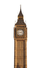 Big Ben Tower (London, UK) Isolated On White Background