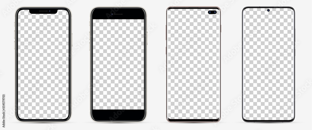 Fototapeta Realistic models smartphone with blank screens for your design. Mockup collection.  Vector illustration.