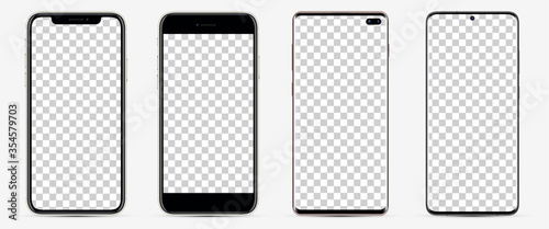 Fototapeta Realistic models smartphone with blank screens for your design. Mockup collection.  Vector illustration. obraz