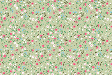 Elegant Floral Pattern In Small Pink, White And Light Blue Flower. Liberty Style. Floral Seamless Background For Fashion Prints. Ditsy Print. Seamless Vector Texture. Spring Bouquet.