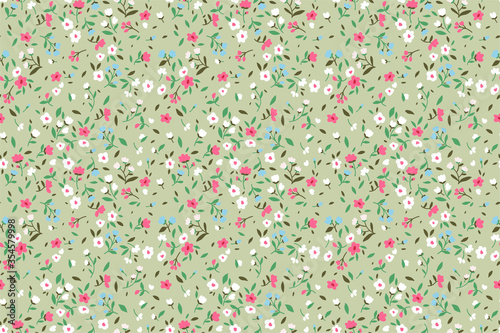 Elegant floral pattern in small pink, white and light blue flower. Liberty style. Floral seamless background for fashion prints. Ditsy print. Seamless vector texture. Spring bouquet. - 354579998