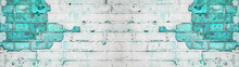 White Turquoise Aquamarine Abstract Painted Light Damaged Rustic Brick Wall Masonry Texture Banner Panorama, With Copy Space