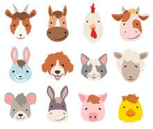 Farm Cartoon Animals Faces Col...