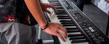 Hand Men Playing Keyboard Pian...