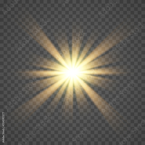 Obraz The yellow glowing light explodes with a blast with a transparent one. Vector illustration for perfect effect with sparkles.  - fototapety do salonu