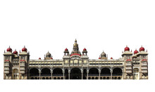 Mysore Palace (India) Isolated On White Background. It Is A Historical Palace In The Indian State Of Karnataka.