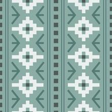 Vector Pastel Green Woven Geometric Design Seamless Pattern Background
