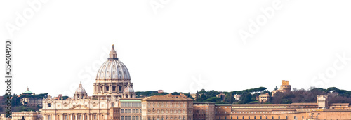 Photo Cityscape of Rome (Italy) with the dome of  of the Papal Basilica of St