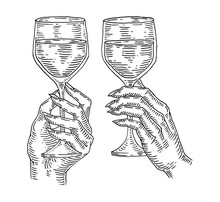 Woman Hand Holding And Clinking Wine Glass. Vintage Vector Black Engraving