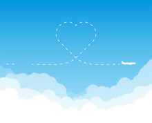 Airplane Flying Above Clouds. Heart Shape Route.  Jet Plane With Exhaust White Trail Dashed Line In Shape On Heart. Blue Gradient And White Plane Silhouette. White Clouds On The Blue Sky.