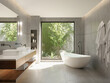 Leinwanddruck Bild 3d bathroom with concrete walls and contemporary minimal design with a view to garden