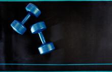 Fitness Dumbbell On Black Mat ...