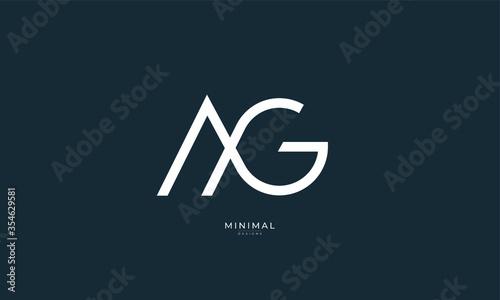 Vászonkép Alphabet letter icon logo AG