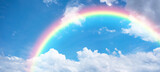 Fototapeta Rainbow - Rainbow in blue sky.