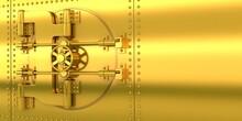 Gold Bank Door And Golden Wall