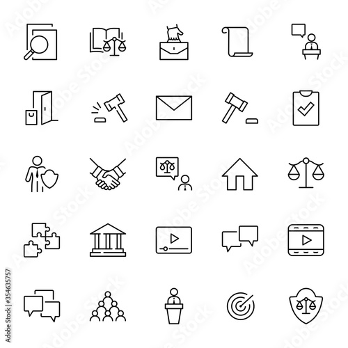 Set of Law and justice Vector Line Icons. Contains such Icons as weapon, arrest, authority, courthouse, gavel, legal, weapon and more. Editable stroke. 32x32 Pixels
