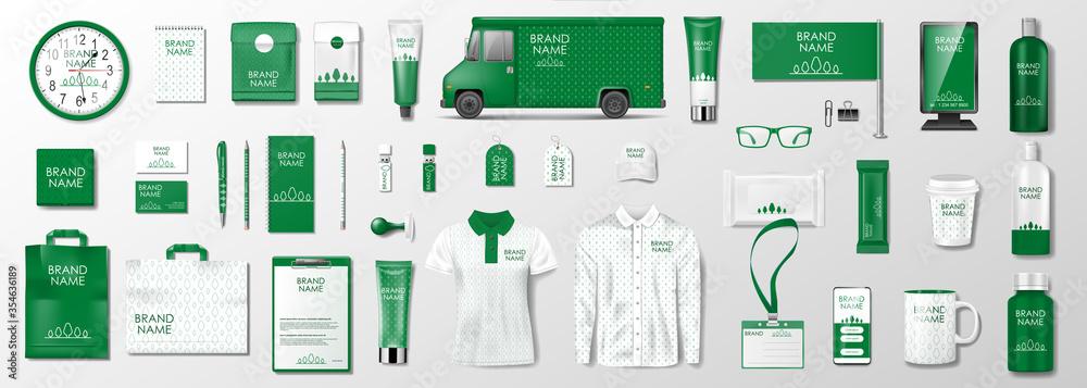 Fototapeta Corporate identity template design. Branding design kit for beauty salon, cosmetic shop or organic shop. Green business stationery mockup set. Vector