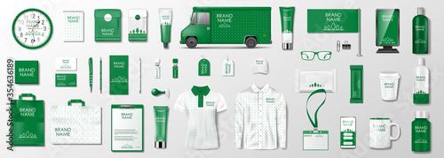 Fototapeta Corporate identity template design. Branding design kit for beauty salon, cosmetic shop or organic shop. Green business stationery mockup set. Vector obraz