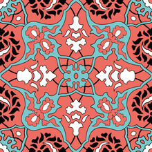 Seamless Traditional Ottoman Tile Pattern Living Coral And Turquoise Colors