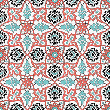 Seamless Traditional Ottoman Tile Pattern Red Coral And Turquoise Colors