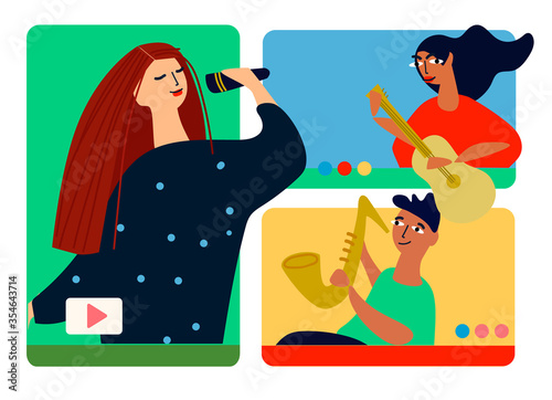 Fototapeta Musical band making online performance using video conferencing platform. Home concert online. Video conferencing software ad. Social distancing concept. Vector illustration in flat style obraz