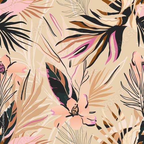 Fototapeta Feminine floral seamless pattern. Fashionable template for design. Soft color palette. obraz