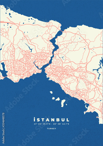 Fotografie, Obraz Istanbul city map vector poster