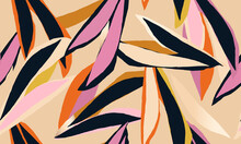 Colorful Abstract Illustration Pattern. Creative Collage Contemporary  Seamless Pattern. Fashionable Template For Design.