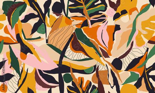Fototapeta Modern artistic illustration pattern. Creative collage contemporary floral seamless pattern. Fashionable template for design. obraz