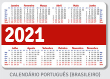 Portuguese (Brazilian) Calendar Grid For 2021 In The Form Of A Pocket Calendar Or Personal Organizer, Isolated On Gray Background, Horizontal Vector Template