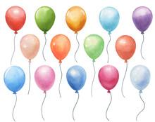 Set Of Watercolor Air Balloons...