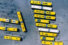 Aerial Top Down Photo Of Bus Terminus