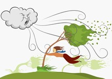 Image Of A Women Holding On To Tree On Windy Day. Vector Illustration