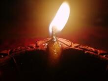 Burning Oil Lamp In The Dark