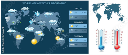 Fotografía Vector world map and weather infographic