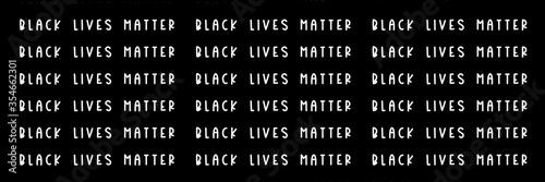 Black Lives Matter white slogan pattern, social poster on black background, bann Принти на полотні