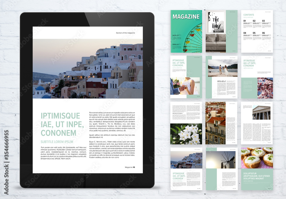 Fototapeta Fresh Digital Magazine Layout with Mint Accents