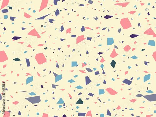 Fototapeta Terrazzo - Venetian plaster. Vector seamless pattern decor. Marble chips, stone, quartz in mixture - multicolored design. Element for floor, fabrics and walls in interior. Trend style stone texture obraz