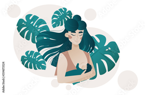 Fototapeta Vector of a young woman breastfeeding her baby obraz