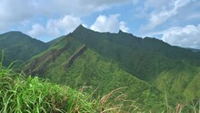 Overlooking Stegosaurus Ridge From Mt. Nanzhili. The Spectacular Stegosaurus Ridge Attracted Many Hikers. Mt. Nanzhilin Is Easy To Reach, Safe And Comfortable For Tourist. Ruifang, New Taipei, Taiwan.