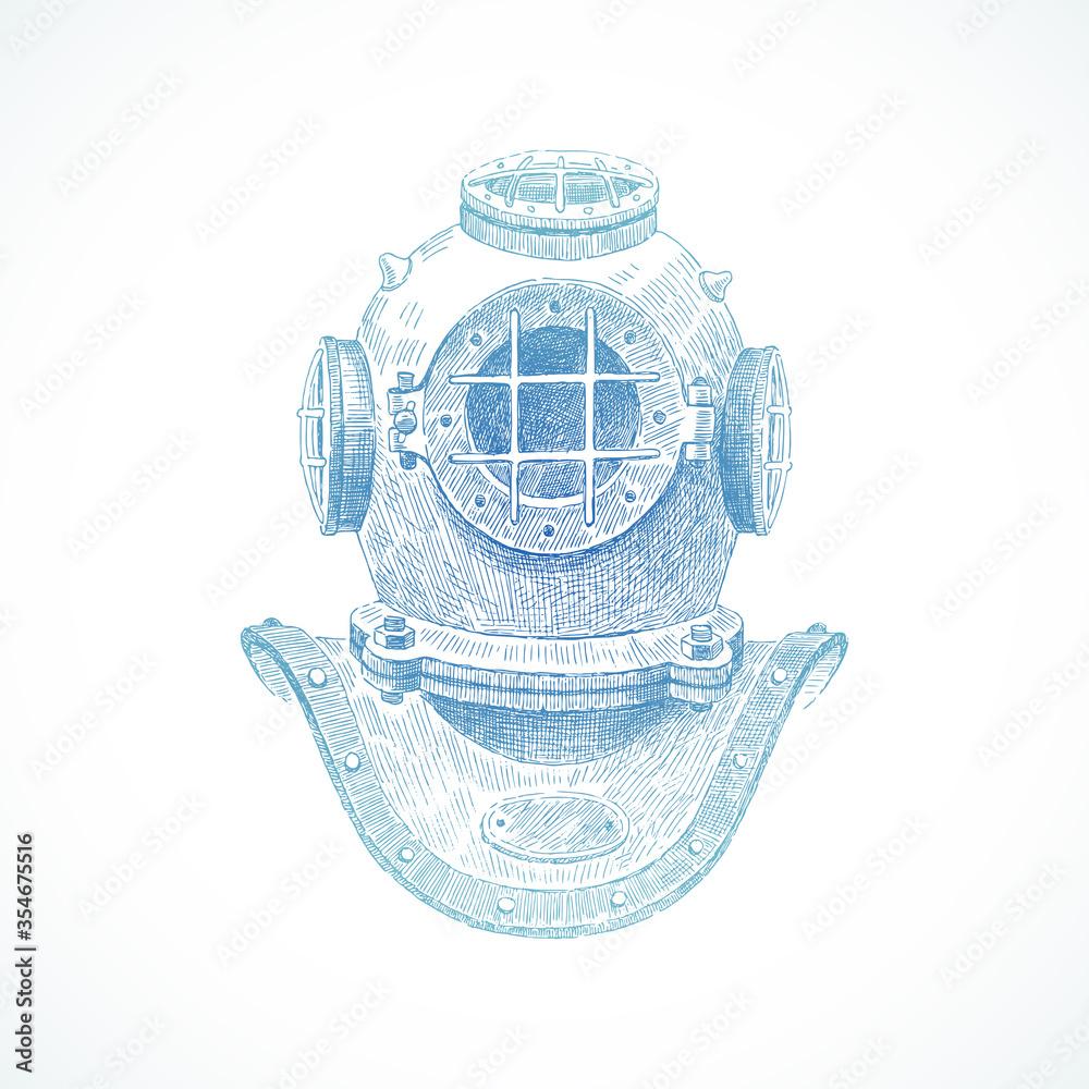 Fototapeta Hand drawn vintage diving helmet - vector illustration