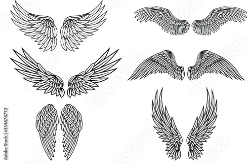 Fototapeta Wings icon set, bird drawing in spread and motion. Angel shape element. Vector wings sketch illustration isolated on white background obraz