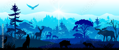Photo Save nature banner with forest animals, pines, trees, mountains, birds